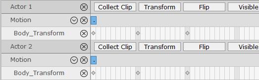 Откройте временную шкалу (F3). Покажите треки Body_Transform двух символов. Поскольку их движения идентичны, позиции клавиш будут в одно и то же время.