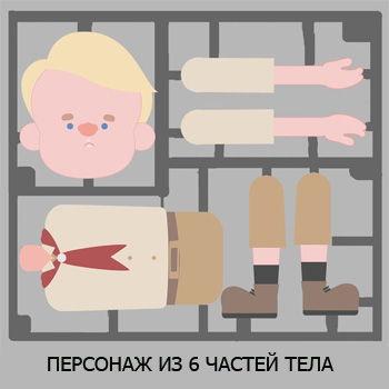 Персонаж из 6 частей тела