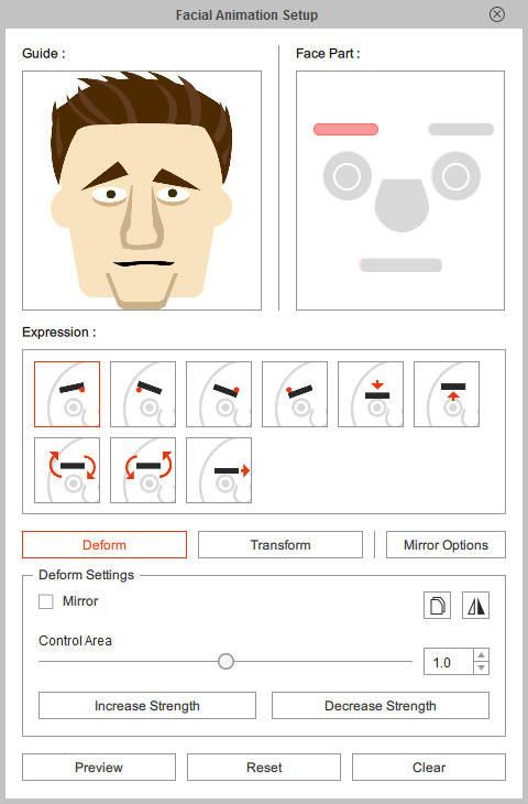 Настройка анимации лица